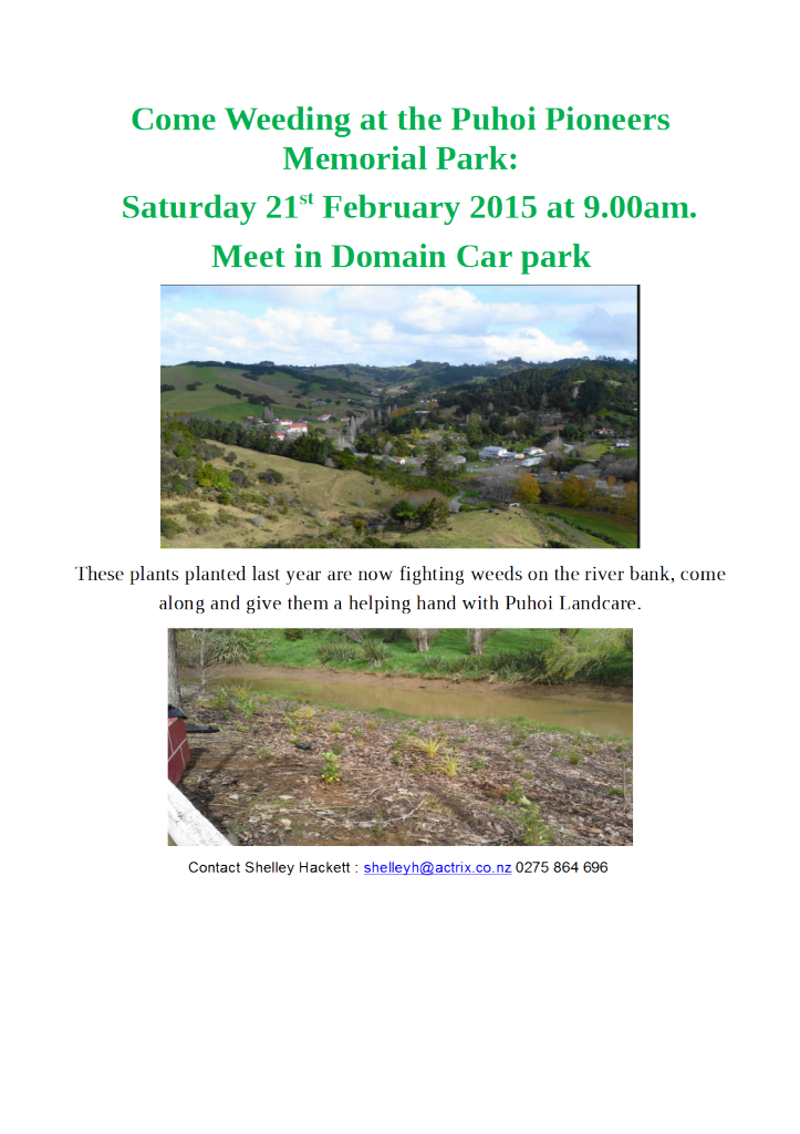 Come Weeding at the Puhoi Pioneers Memorial Park-1