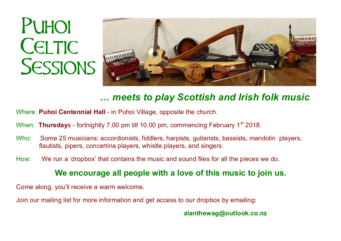 Puhoi Celtic Sessions @ Mahurangi West Hall | Puhoi | Auckland | New Zealand