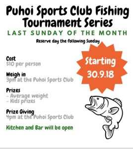 Puhoi Sports Club Fishing Tournament Series @ Puhoi Sports Club