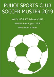 Puhoi Sports Club Soccer Muster 2019 @ Puhoi Sports Club